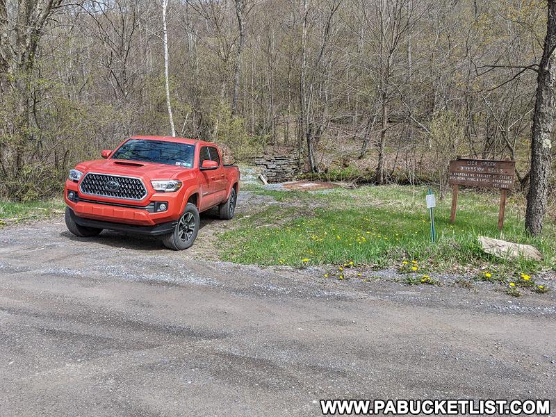 Lick Creek Falls parking area along Landrus Road in Tioga County