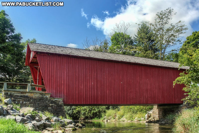 Side view of Logan Mills Covered Bridge