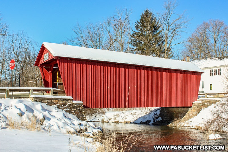 Logan Mills Covered Bridge in the winter