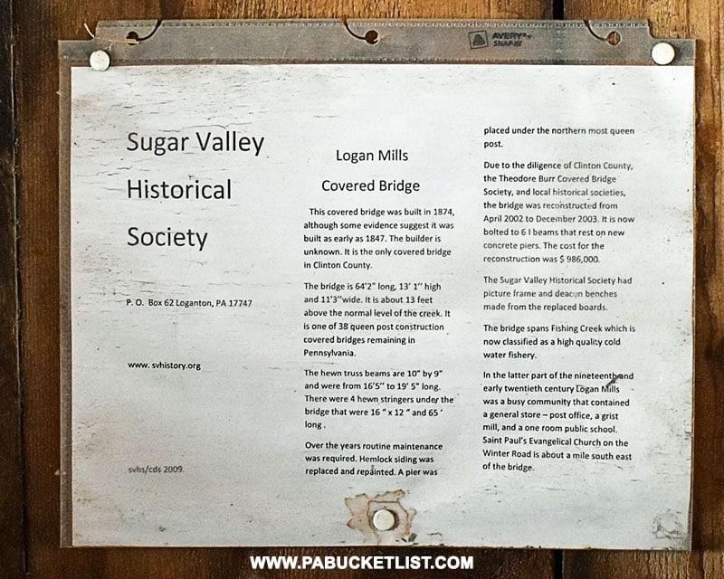 Logan Mills Covered Bridge informational sign inside the bridge Clinton County PA