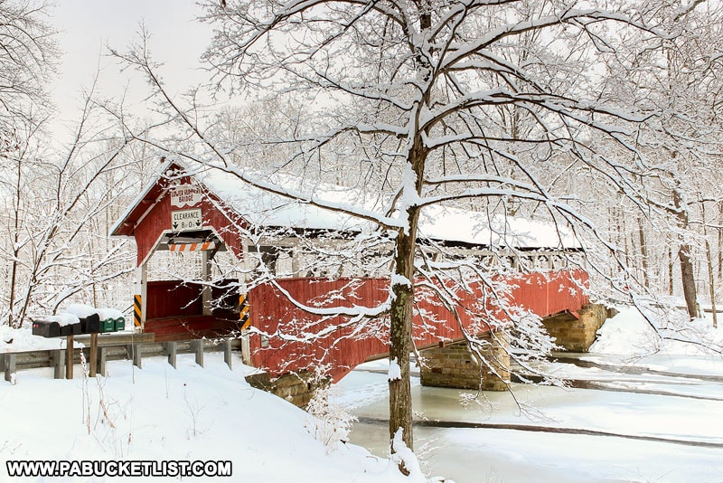 Winter at Lower Humbert Covered Bridge in Somerset County Pennsylvania