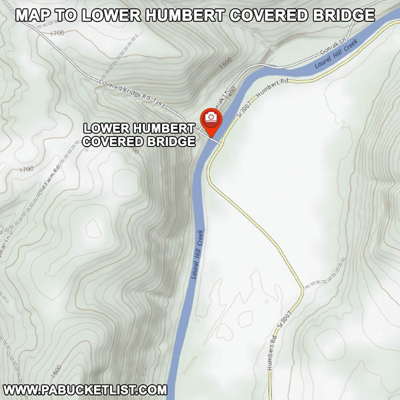 How to find Lower Humbert Covered Bridge in Somerset County Pennsylvania