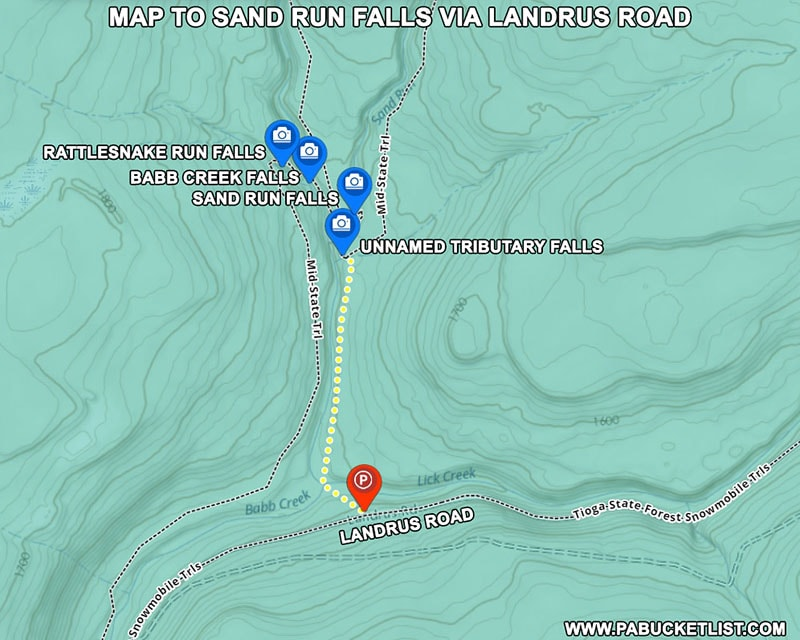 How to find Sand Run Falls in Tioga County PA