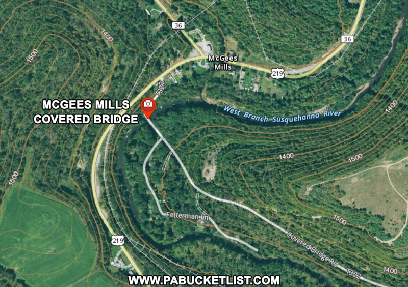 How to find McGees Mills Covered Bridge in Clearfield County Pennsylvania