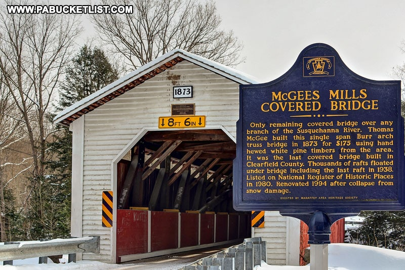 Approaching McGees Mills Covered Bridge in Clearfield County Pennsylvania