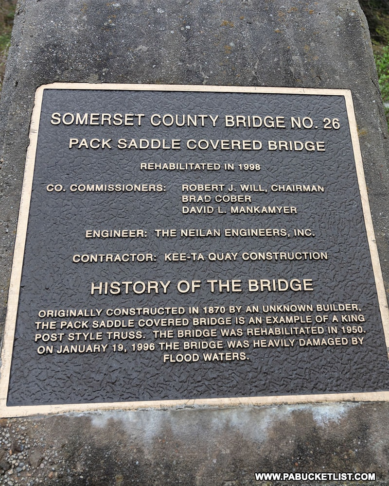 Monument at the Pack Saddle Bridge in Somerset County Pennsylvania
