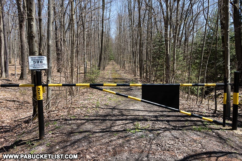 Gate 252 blocking the road to the southern nuclear jet engine testing bunker in the Quehanna Wild Area.