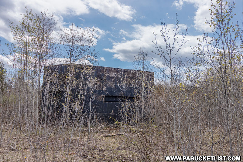 The Cold War-looking northern nuclear jet engine testing bunker in the Quehanna Wild Area.