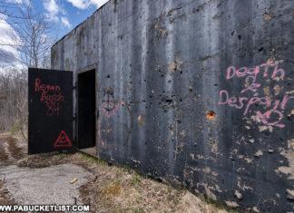 Abandoned nuclear jet engine testing bunker entrance.
