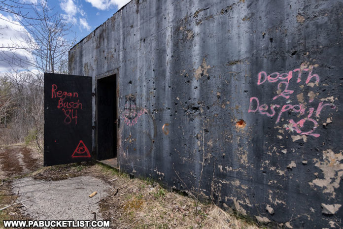 Abandoned nuclear jet engine testing bunker entrance.