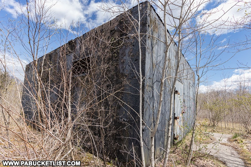Exterior view of the northern abandoned nuclear jet engine testing bunkers in the Quehanna Wild Area.
