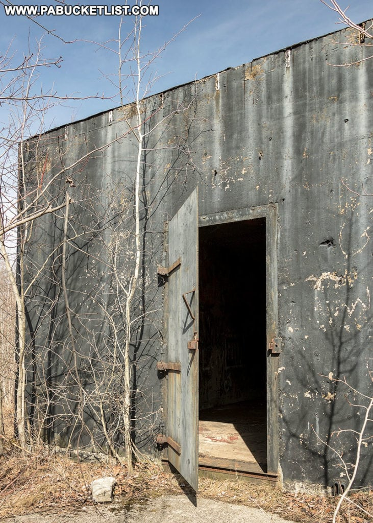 The entrance to the northern nuclear jet engine bunker in the Quehanna Wild Area Cameron County Pennsylvania