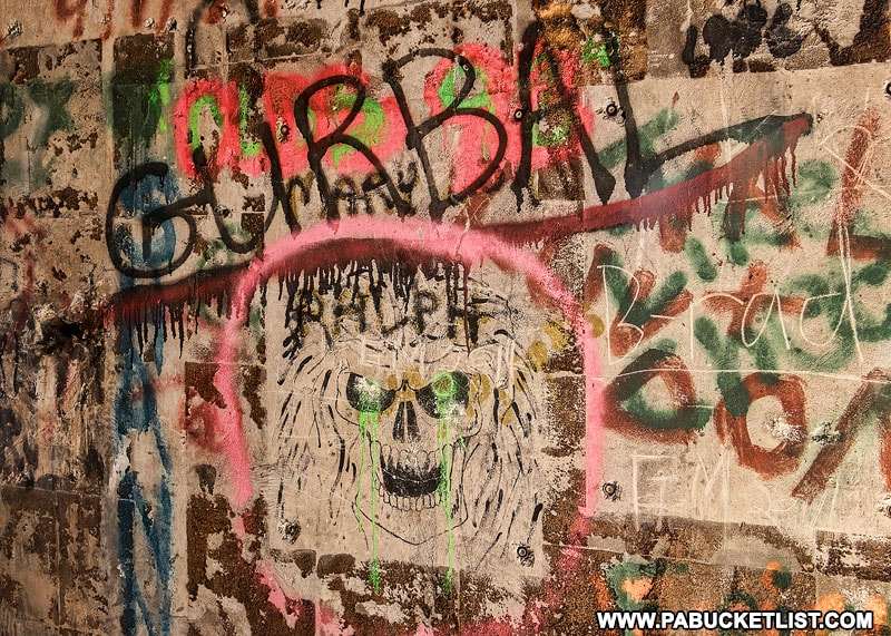 Graffiti inside the northern nuclear jet engine bunker in the Quehanna Wild Area.