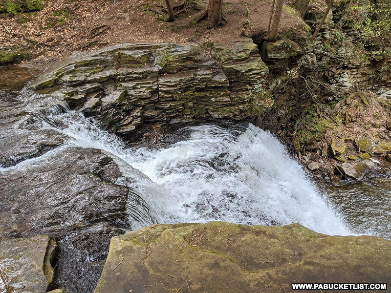 The top of Sand Run Falls in Tioga County.