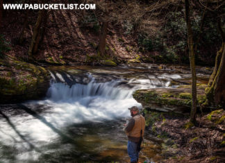 A fisherman at Wykoff Run Falls in Cameron County