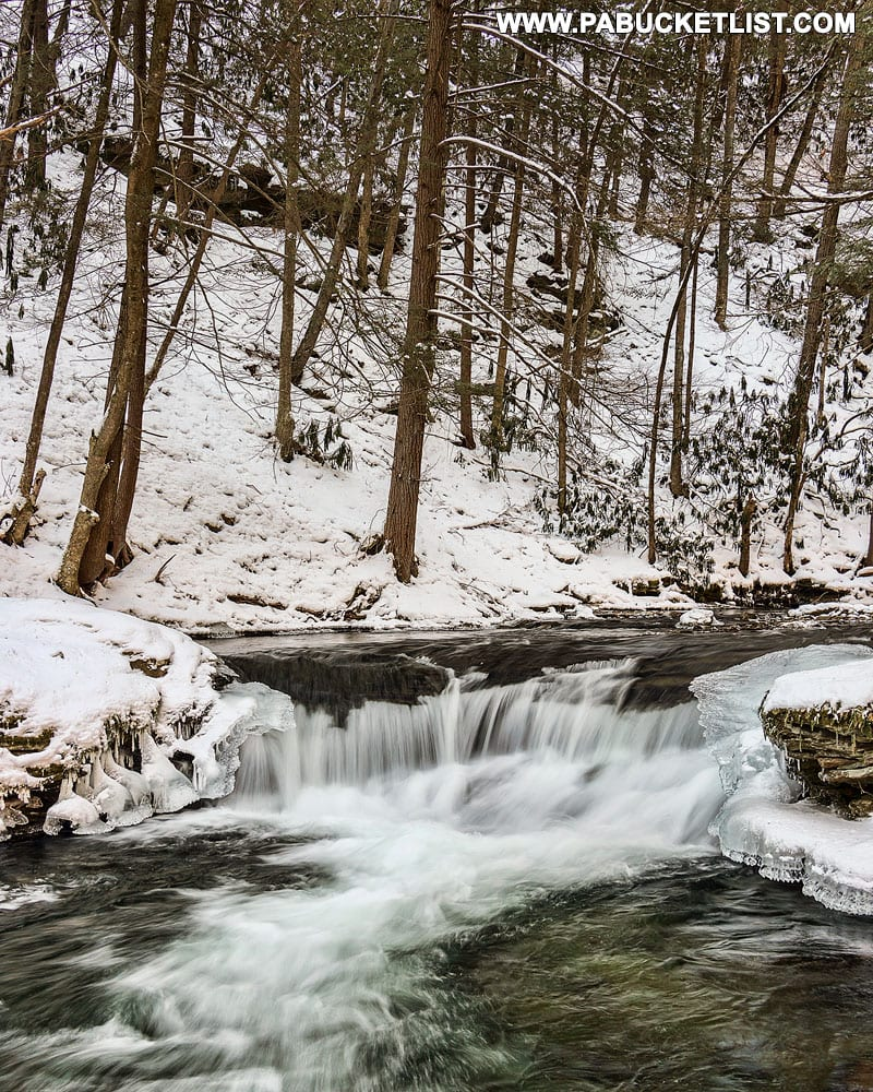 Winter at Wykoff Run Falls in Cameron County PA