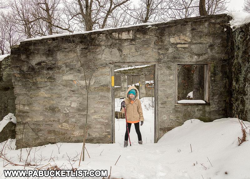 Standing in the doorway of Kunes Camp in the Quehanna Wild Area.