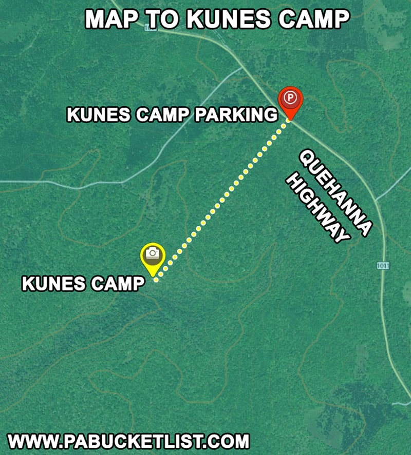 Directions to the abandoned Kunes Camp in the Quehanna Wild Area.