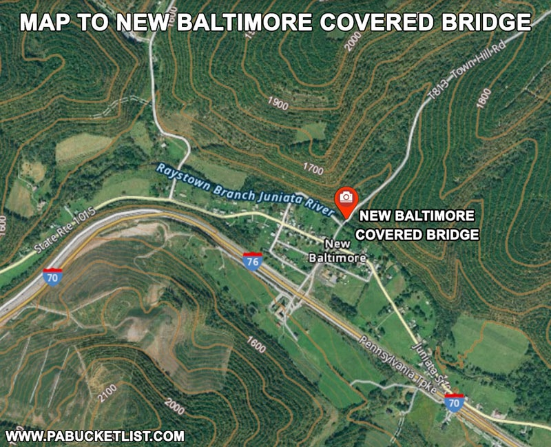 How to find New Baltimore Covered Bridge in Somerset County Pennsylvania.
