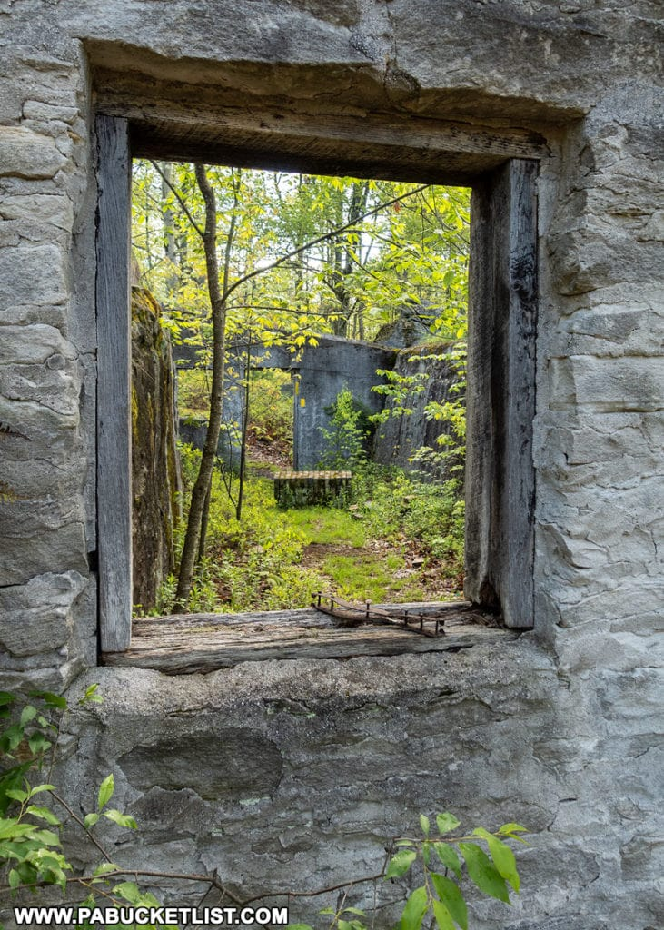 Window at Kunes Camp in the Quehanna Wild Area