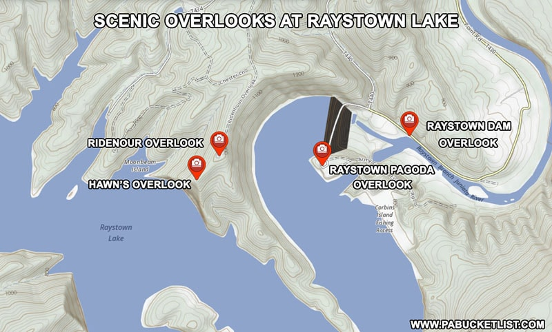 Map of the scenic overlooks near Raystown Lake in Huntingdon County Pennsylvania