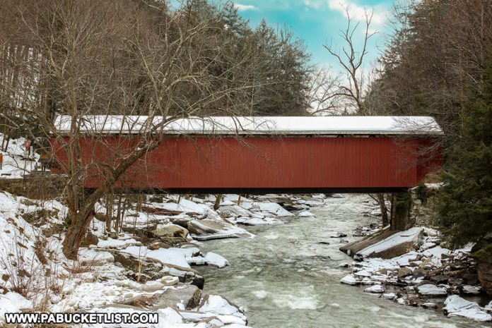 Side view of McConnells Mill Covered Bridge over Slippery Rock Creek
