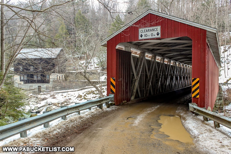 Approaching McConnells Mill Covered Bridge in Pennsylvania