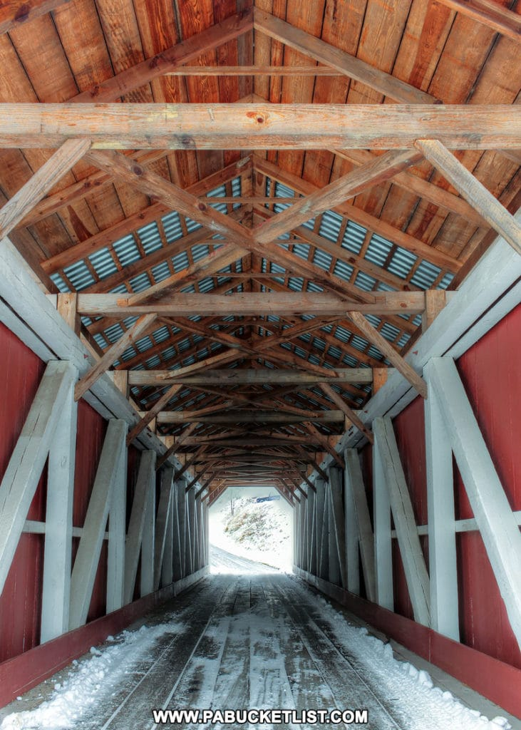 Interior of the New Baltimore Covered Bridge