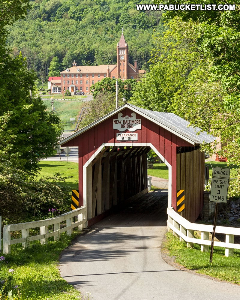 New Baltimore Covered Bridge in the spring.