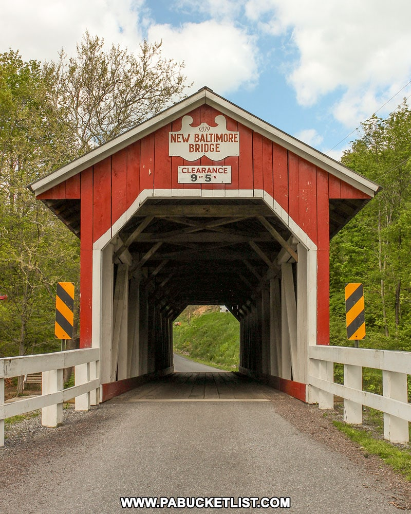 Front view of New Baltimore Covered Bridge.