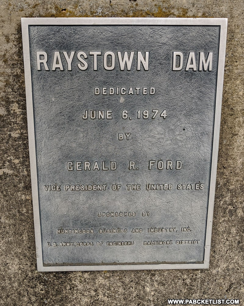 Raystown Dam historical marker.