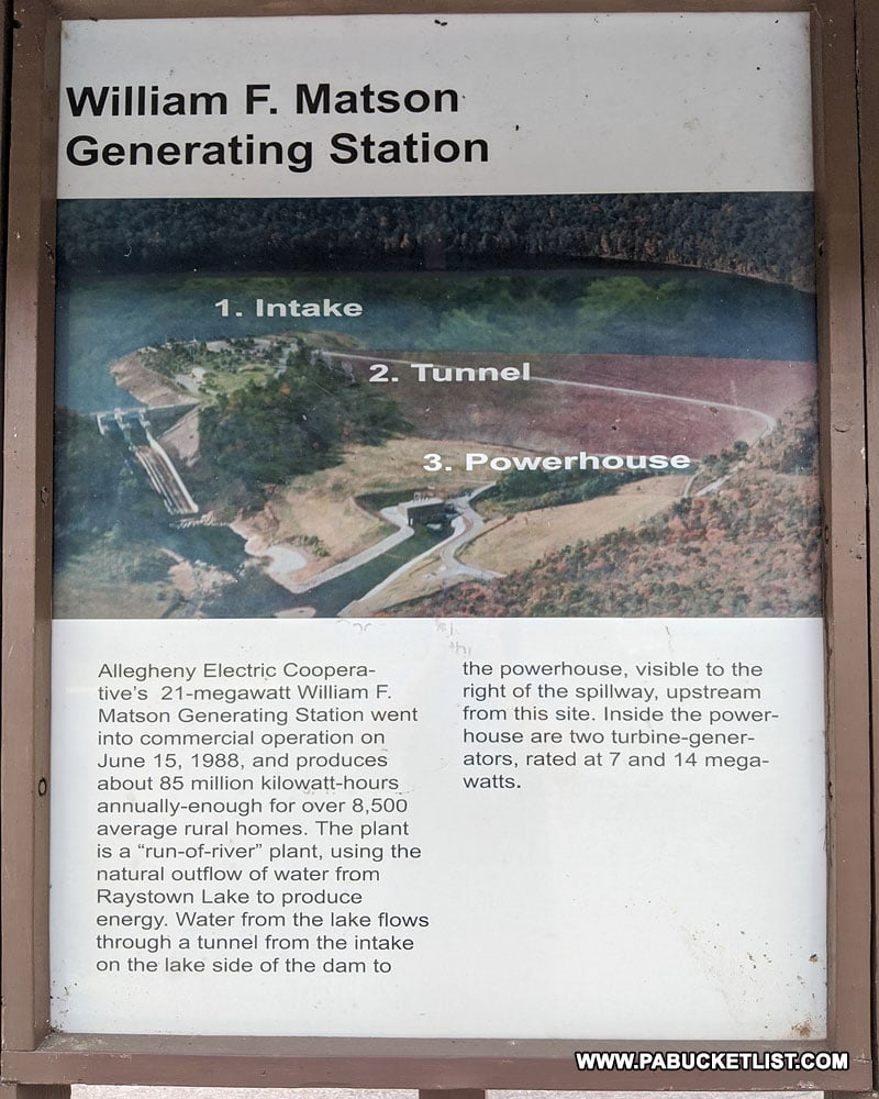 Informational sign near the Raystown Dam in Huntingdon County.