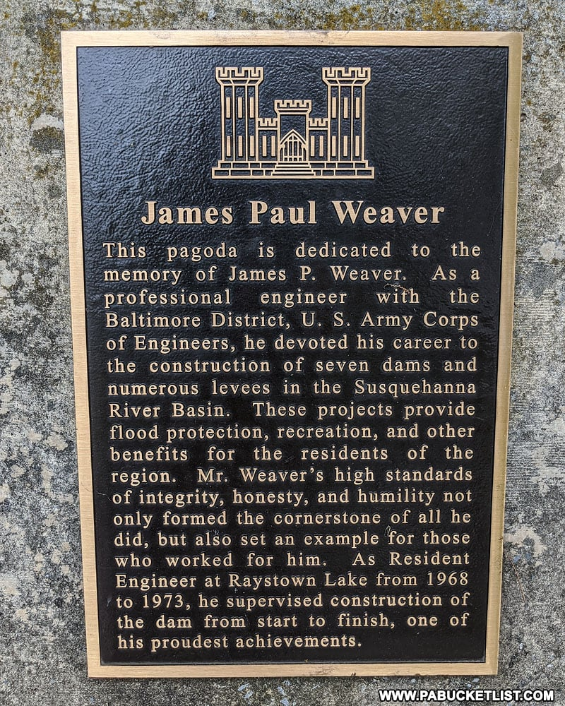 Historical marker at the Raystown Pagoda in Huntingdon County.
