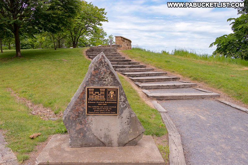 Monument at Ridenour Overlook in Huntingdon County Pennsylvania.