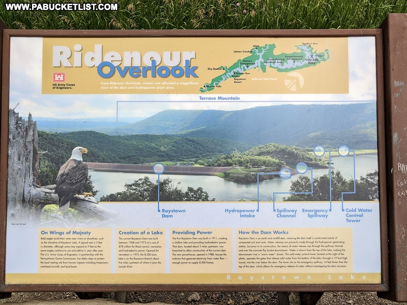Informational sign at the Ridenour Overlook near Raystown Lake in Huntingdon County PA.