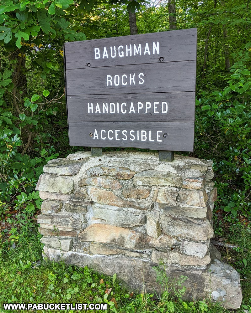 Sign along Mount Davis Road for Baughman Rocks.