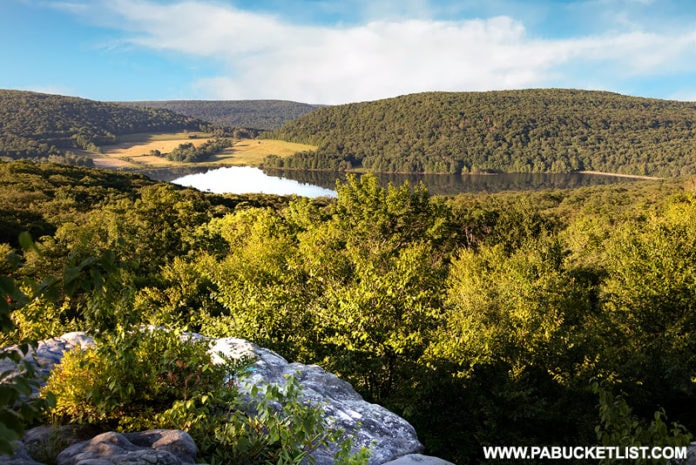 A view of Deer Valley Lake from Camp Buckey Overlook in Somerset County.