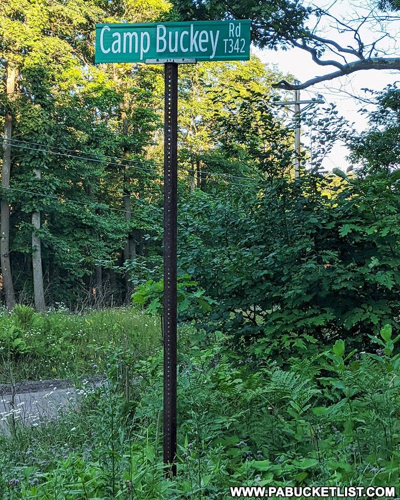 Camp Buckey road sign along Mount Davis Road.