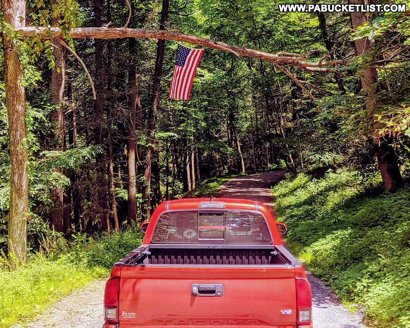 American flag over Colerain Road in the Rothrock State Forest.