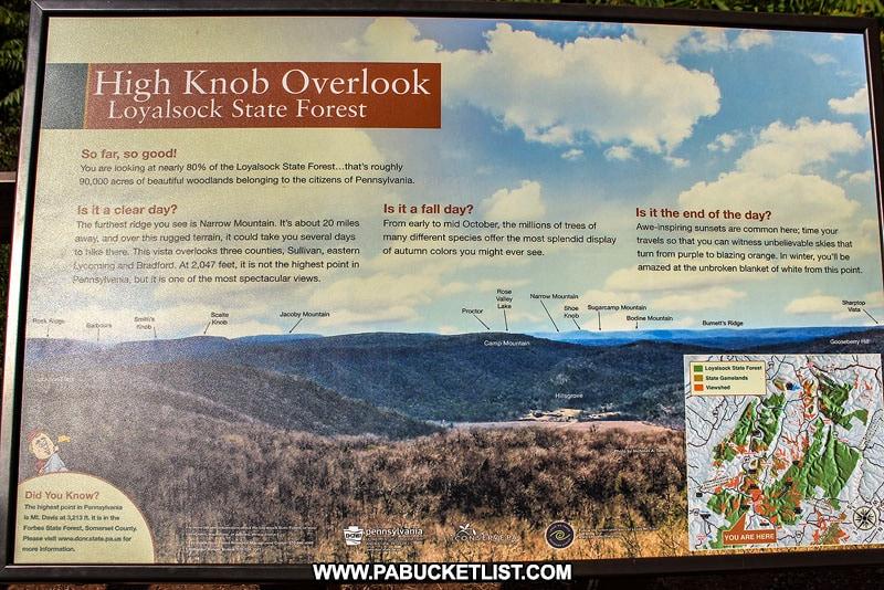 High Knob Overlook informational sign.