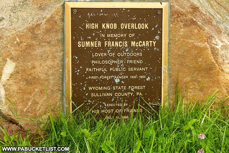 High Knob Overlook memorial plaque.