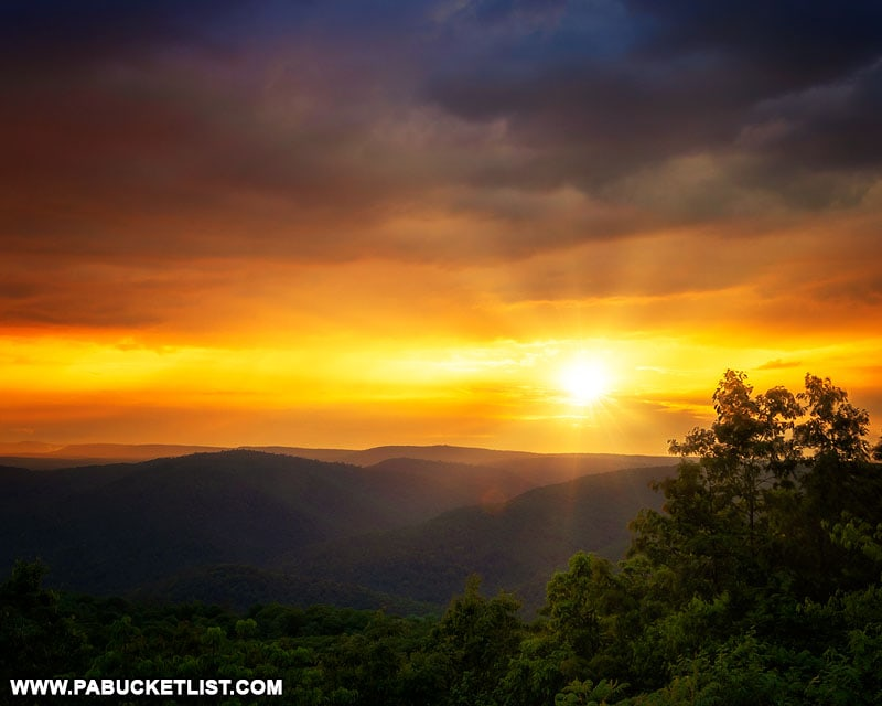 Sunset after a summer storm, as viewed from High Knob Overlook in Pennsylvania.