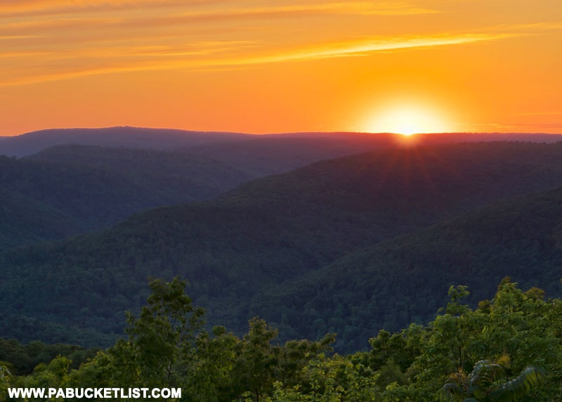 Sunset at High Knob Overlook in the Loyalsock State Forest.