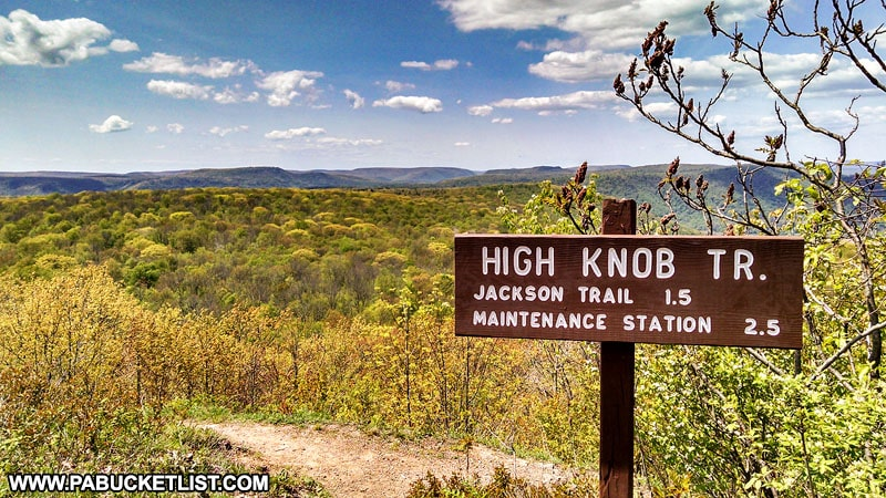 The High Knob Trailhead at High Knob Overlook in the Loyalsock State Forest.