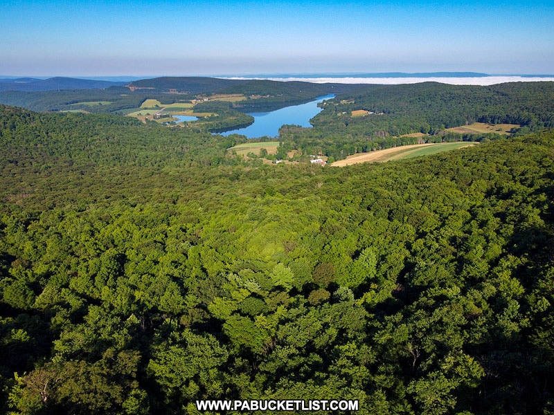 The view of High Point Lake from the observation area along South Wolf Rock Road on Mount Davis.