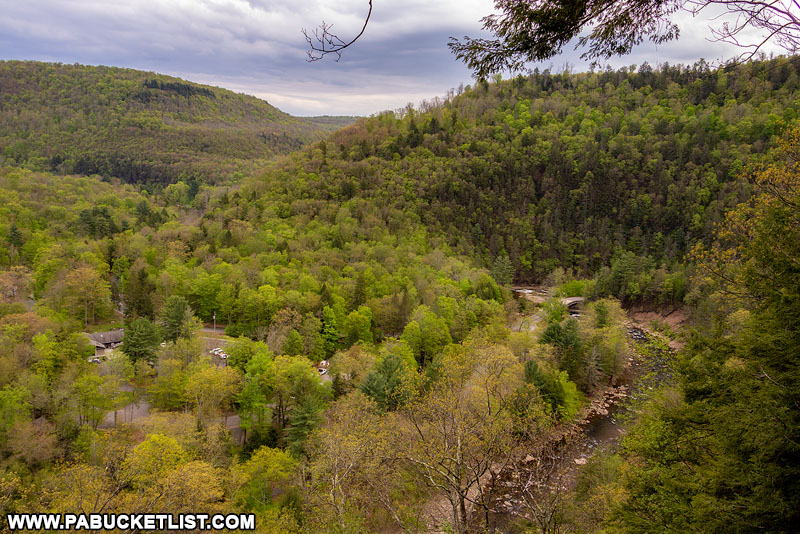 View of Worlds End State Park office from High Rock Overlook