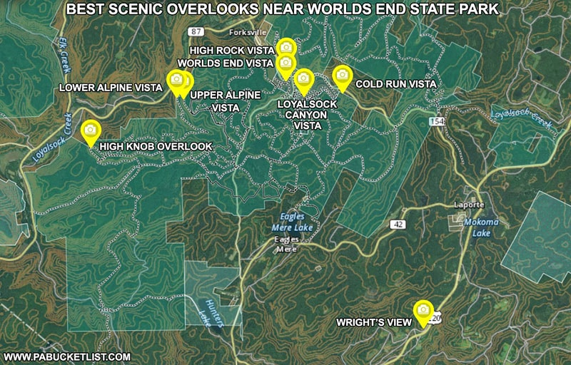 Map of the best scenic overlooks near Worlds End State Park in Pennsylvania.