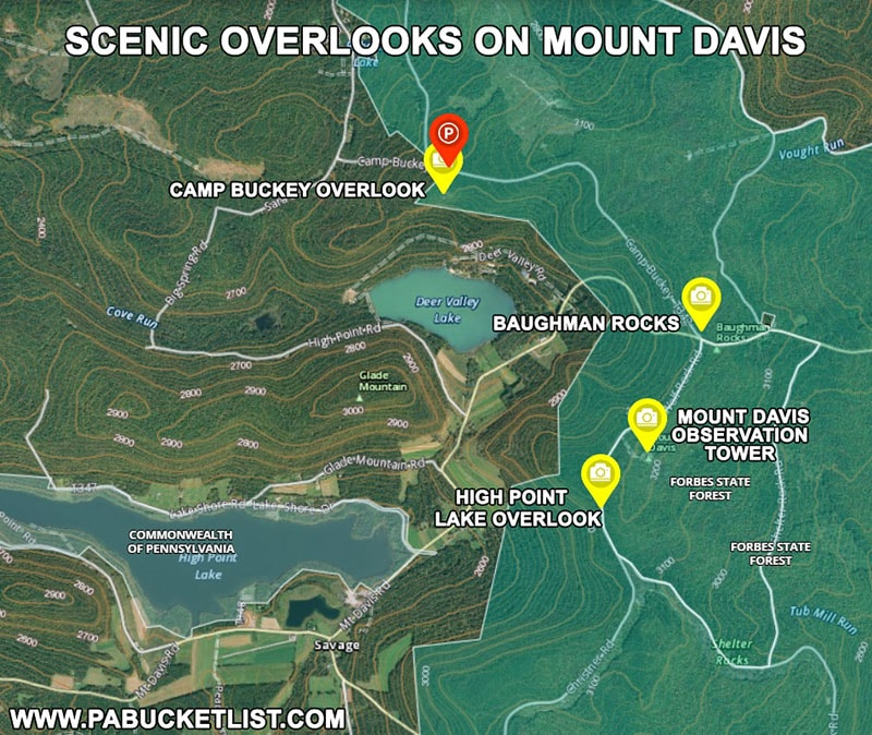 How to find the nest scenic overlooks on Mount Davis in Somerset County Pennsylvania
