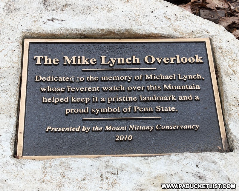 Mike Lynch Overlook memorial on Mount Nittany.