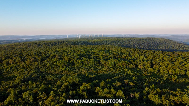 Windmills in the distance as viewed from Mount Davis Observation Tower in Somerset County PA